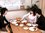 Miki Sato takes dinner with 2 guys and then fools around with guy