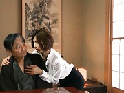 Mai Hanano shows tits to old man while giving him a massage