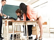 Japanese AV Model shows her sexy bare ass in a classroom