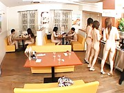 Japanese AV Model Nude teens show off hot bodies in cafeteria