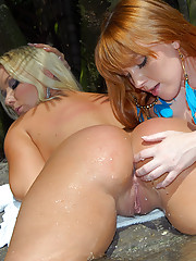 Molly and her sexy bikini teen girlfriend fucked outside in this wet pool fucking ass driving pic set