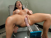 Jenna Presley fucking in mini-Olympics - she hoses the squirt guard in a distance challenge and cums from the infamous 10in Big Red on the Bunny Fucke