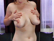 Voluptuous girl w/EE tits has her sensitive nipples licked by mechanical tongues, her huge boobs sucked tight into cups, her pussy fucked by machines.