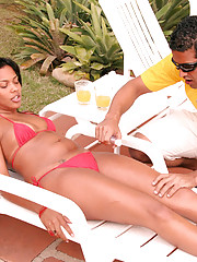 This brazillian babe gets creamed poolside in these pics