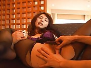 Yuka Osawa gets pantyhose torn to expose her hairy cunt