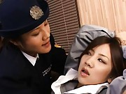 Japanese AV Model is caught by lesbo police and stripped for sex