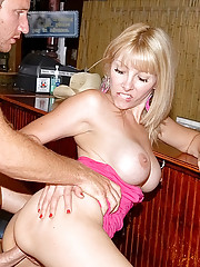 Hot babe at a restaurant fucked against the bar hot fuck milf pics