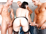 Amazing smoking hot babe gets cumfaced by 3 cocks after getting all her holes stuffed hot fucking 4 movies