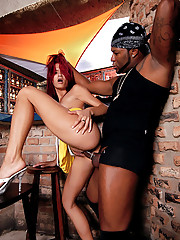 Amazing big tits hot red head brazilian booty babe gets nailed at a club in this hot 3some orgy
