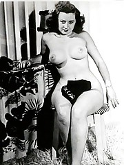 Nearly naked pretty babes posing in fifties
