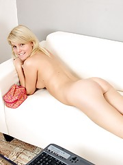 Unblemished blonde beauty playing with cooch
