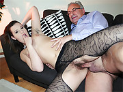 Stockings sweetie sucking a very old pecker