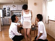 Miki Sato is undressed by 3 dudes to whom she serves lunch