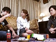Tsubaki Kato Asian beauty enjoys fucking her boyfriend on sofa