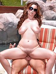 Check out these 2 stacked bikin babes share their hairy wet pussies in these hot 3some poolside fuck pics
