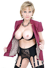 Cleavage and nylons leggy mature