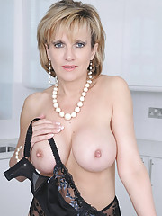British mature in black lingerie