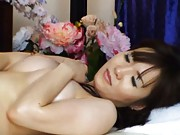 Japanese AV Model totally undressed by her masseur on table