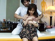 Japanese AV Model is touched on melons by a naughty doctor