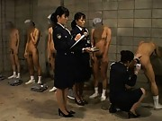 Japanese AV Model Prison guards perform anal exams on prisoners