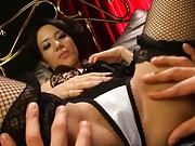 Sora Aoi Babe in black fishnets spreads her legs and masturbates