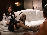 Sora Aoi mistress has sexy legs licked by her slave