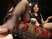Sora Aoi dominates guy rubbing her pussy  and pressing his chest