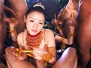 Tsubomi hot dancer has to give blow jobs to three cocks same time