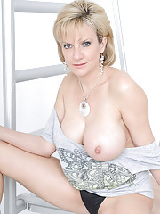 Ice skates on a busty mature babe