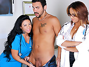 Doctor office babes strip and fuck each other in this amazing super hot 3some fucking masturbation fucking movies
