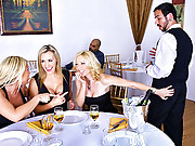 3 super hot fucking amazing hot milfs flirt then suck and fuck the waiter in these hot fucking amazing 4some vids