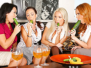 Watch these hot 4 sexy milfs suck cucumbers then share their sucking skills on 1 big dong in these hot 4 on 1 facial fucking vids