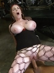 Smoking hot big tits babe fucked hard in a harley bike shop hot cumfaced action