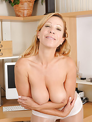 Rachel from AllOver30 shows off her mature pussy stuff at her office