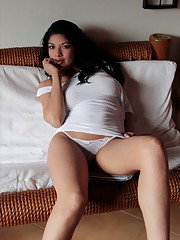 Natalia Spice wears a tight white dress and shows those DD Natural Tits