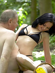 Chick walking in the local forest fucked hard