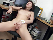 Teenage secretary stroking her slippery pussy