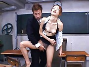 Nene the Asian student has push ups and cunt fondled in classroom