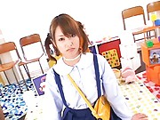 Akiho Yoshizawa in school uniform gives real good blowjob