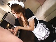 Akiho Yoshizawa housekeeper rubbing cock till cum is in her palm