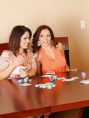 Super hot babe francesca and sienna strip down a horny poker player then share his cock in these hot pussy banging masterbation and cum faced pics and 3 minute video