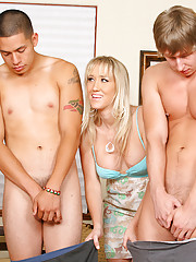 3 smokin milfs tease and masterbate to hot naked boys while alana gets her pussy rammed