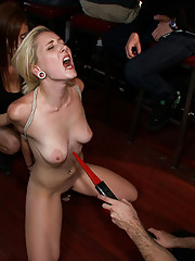 Sexy little blonde is tied up, fucked, spit on, smacked, and made to cum in a public bar