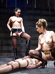 Sandra Romain and Isis Love gang up on slave boy