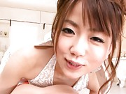 Saki Ninomiya Asian licking fellow´s body with clothes on her