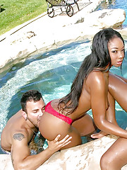 Amazing big ass ebony babes fucked hard pool side chek out this 3some cumfaced pic set