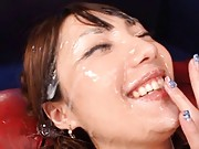 Tsubasa Amami Asian can´t even open her eyes covered with cum