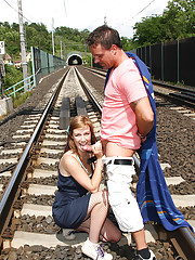 A couple waiting for a train starts fucking