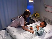 Rei Aoi nurse puts a patient to bed and sits on his top for fuck