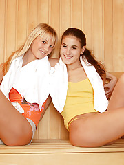 Lesbian chicks having hot sex in the sauna